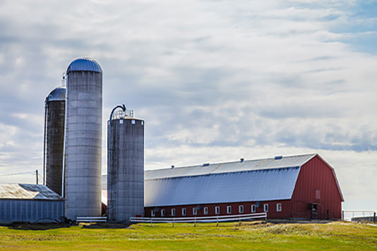 Barn and silo's on a farm